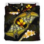 Kanaka Maoli (hawaiian) Bedding Set Plumeria - Polynesian Manta Ray Yellow A18