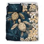 Kanaka Maoli (hawaiian) Bedding Set - Sea Turtle Tropical Hibiscus And Plumeria Gold A24