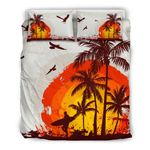 Hawaii Bedding Set, Palm Tree Surf Duvet Cover And Pillow Cover K5