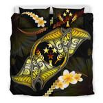 Kosrae Bedding Set Plumeria - Polynesian Manta Ray Yellow A18