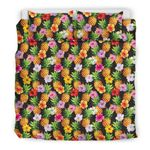 Hawaii Pineapple Bedding Set, Hibiscus Duvet Cover And Pillow Case A7