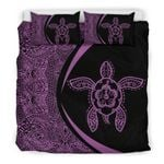 Hawaii Bedding Set, Polynesian Turtle Hibiscus Duvet Cover And Pillow Case J7