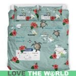Hawaii Map Bedding Set, Turtle Hibiscus Duvet Cover And Pillow Case K5