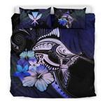 Kanaka Maoli (hawaiian) Bedding Set - Purple Blue Marlin And Hibiscus A18