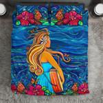 Hawaii Bedding Set, Hibiscus Hula Girl Duvet Cover And Pillow Case J8
