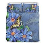 Hawaiian Bedding Set, Butterfly Plumeria Duvet Cover And Pillow Cover H9