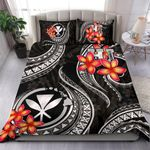 Polynesian Hawaii Bedding Set - Kanaka Maoli Duvet Cover Set - Black Plumeria - Bn11
