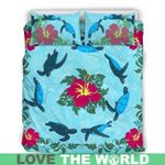 Hawaii Turtle Bedding Set, Hibiscus Duvet Cover And Pillow Case H1