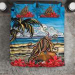 Hawaii Bedding Set, Tropical Island Hula Girl Duvet Cover And Pillow Case J8