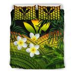 Kanaka Maoli (hawaiian) Bedding Set, Polynesian Plumeria Banana Leaves Reggae A02