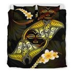 Marquesas Islands Bedding Set Plumeria - Polynesian Manta Ray Yellow A18