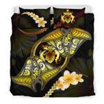 Solomon Islands Bedding Set Plumeria - Polynesian Manta Ray Yellow A18