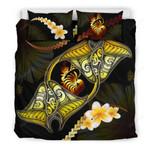 New Caledonia Bedding Set Plumeria - Polynesian Manta Ray Yellow A18