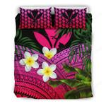 Kanaka Maoli (hawaiian) Bedding Set, Polynesian Plumeria Banana Leaves Pink A02