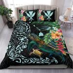 Hawaii Tiki Polynesian Bedding Set - Turtle Mix Hibiscus Cyan K4