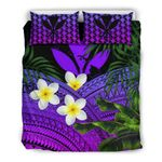 Kanaka Maoli (hawaiian) Bedding Set, Polynesian Plumeria Banana Leaves Purple A02