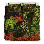 Hawaii Bedding Set, Tropical Hibiscus Polynesian Humpback Whale Duvet Cover - Bn15