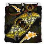 Pohnpei Bedding Set Plumeria - Polynesian Manta Ray Yellow A18