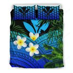Kanaka Maoli (hawaiian) Bedding Set, Polynesian Plumeria Banana Leaves Blue A02