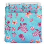 Hawaii Turtle Bedding Set, Plumeria Duvet Cover And Pillow Case K4