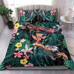 Kanaka Maoli (hawaiian) Bedding Set Pink Turtle Hibiscus Duvet Cover And Pillow Case Th5