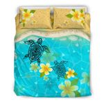 Turtles And Plumeria On Hawaii Beach Bedding Set Nn9