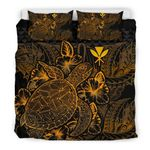 Polynesian Bedding Set - Hawaii Duvet Cover Set Gold Color - Bn39