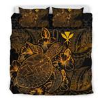 Polynesian Bedding Set - Hawaii Duvet Cover Set Gold Color - Bn39