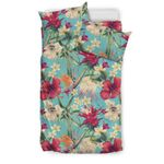 Hawaii Seamless Floral Pattern With Tropical Hibiscus, Watercolor Bedding Set J71