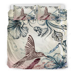 Hawaii Bedding Set, Hibiscus Hummingbird Duvet Cover And Pillow Case K5