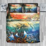 Hawaii Bedding Set, Whale Manta Ray Duvet Cover And Pillow Case J8