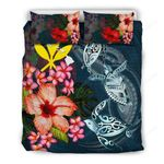 Kanaka Maoli (hawaiian) Bedding Set - Polynesian Turtle Tropical Plumeria A24