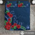 Hawaiian Bedding Set, Blue Hibiscus Duvet Cover H5