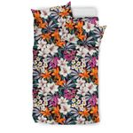 Hawaii Seamless Exotic Pattern With Tropical Leaves Flowers.  Bedding Set J71