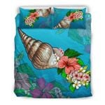 Hawaii Bedding Set, Snail Hibiscus Plumeria Duvet Cover And Pillow Case H1