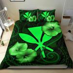 Polynesian Hawaii Duvet Cover Set - Hibiscus Green - Bn39