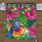 Hawaii Tropical Bedding Set, Humming Bird Duvet Cover And Pillow Case K5