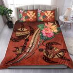 Kanaka Maoli Hawaii Bedding Set - Turtle Tribal Tattoo With Hibiscus Coral K4