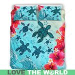 Hawaii Turtle Bedding Set, Honu Hibiscus Duvet Cover And Pillow Case Nn8