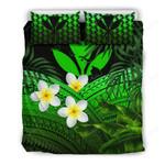 Kanaka Maoli (hawaiian) Bedding Set, Polynesian Plumeria Banana Leaves Green A02