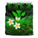 Kanaka Maoli (hawaiian) Bedding Set, Polynesian Plumeria Banana Leaves Green A02