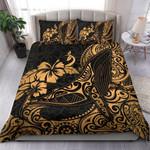 Polynesian Bedding Set - Hawaii Duvet Cover Polynesian Golden Humpback Whale - Bn15
