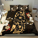Polynesian Bedding Set - Guam Duvet Cover Set - Gold Hibiscus - Bn11