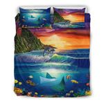 Hawaii Tropical Bedding Set, Whale Manta Ray Duvet Cover And Pillow Case Th72