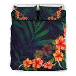 Hawaii Bedding Set, Hibiscus Palm Leaf Duvet Cover And Pillow Case H4