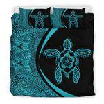 Hawaii Bedding Set, Polynesian Turtle Mermaid Duvet Cover And Pillow Case J7