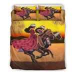Hawaii Bedding Set, Girl Horse Riding Duvet Cover And Pillow Case J1