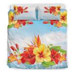 Hawaii Bedding Set, Hibiscus Plumeria Duvet Cover And Pillow Case Nn8