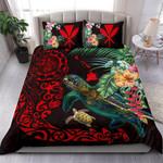 Hawaii Tiki Polynesian Bedding Set - Turtle Mix Hibiscus Red K4