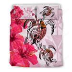 Hawaii Bedding Set - Polynesia Turtle Hibiscus Pink A24